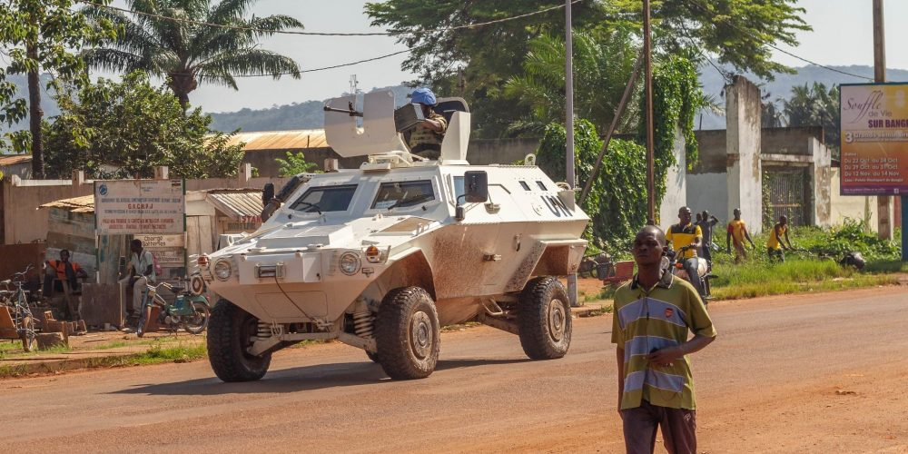 Peacekeepers patrolling in the streets of Bangui, Central African Republic. March 11 2014.