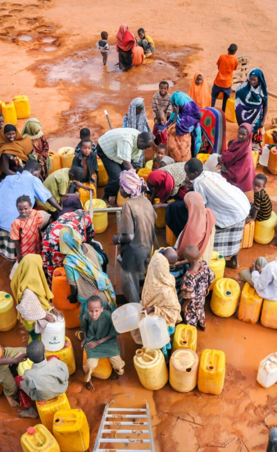 Civilians (IDPs) waiting for water supply. Refugee camp in  in Dadaab, Somalia. August 07, 2011.